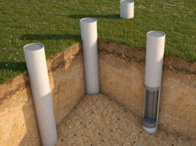 фундамент с бетонными столбами