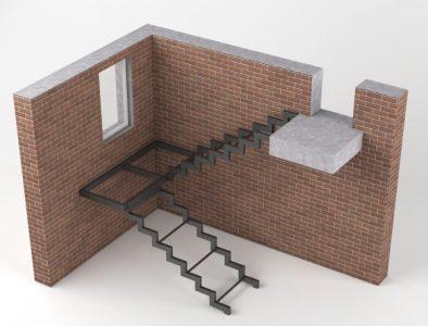 лестница на каркасе открытого типа