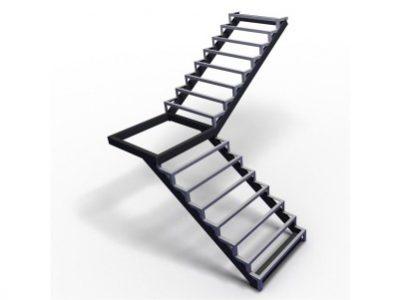 каркас лестницы с площадкой угол 90