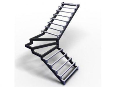 каркас лестницы с забежными ступенями и углом 90