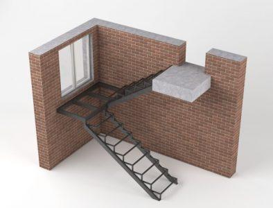 лестницы на каркасе закрытого типа