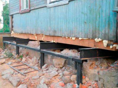 Балки под домо, металлические и деревянные балки при реконструкции фундаментов.