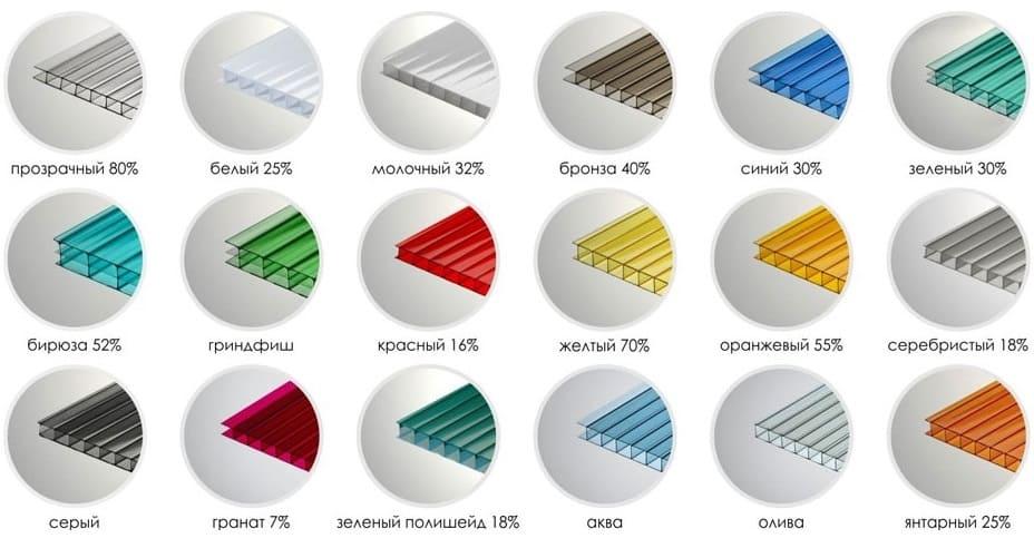 Цвета поликарбоната для изготовления навесов, любые цвета и сложность.